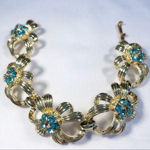 Vintage Gold Flower Bracelet with Blue Jewels